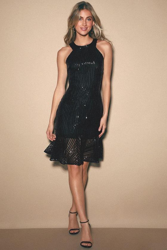 Chic Sequin Dress - Black Sequin Dress - Trumpet Hem Dress - LBD