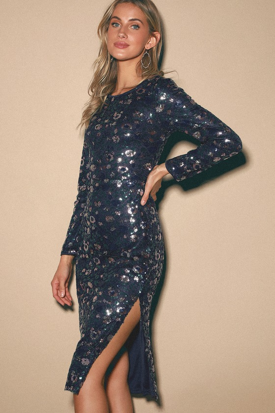 Beyond Fierce Navy Blue Sequin Long Sleeve Midi Dress