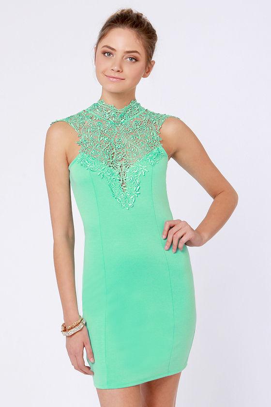 056b42a12d Beautiful Mint Green Dress - Lace Dress - Bodycon Dress -  46.00