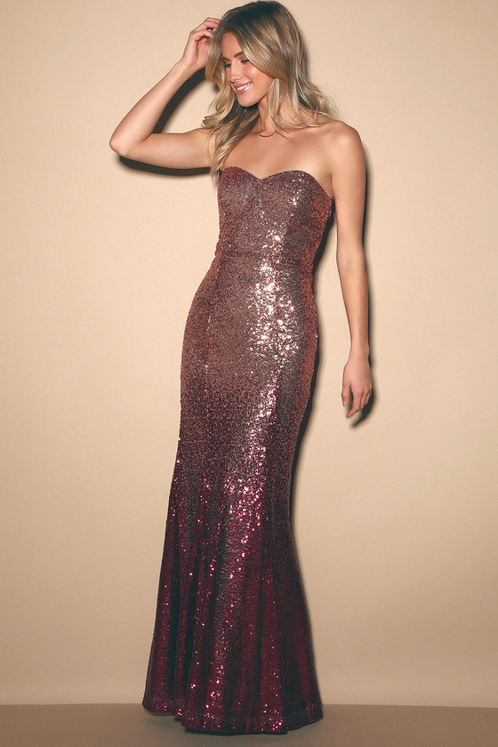 Kiss Me Burgundy and Rose Gold Ombre Sequin Strapless Maxi Dress