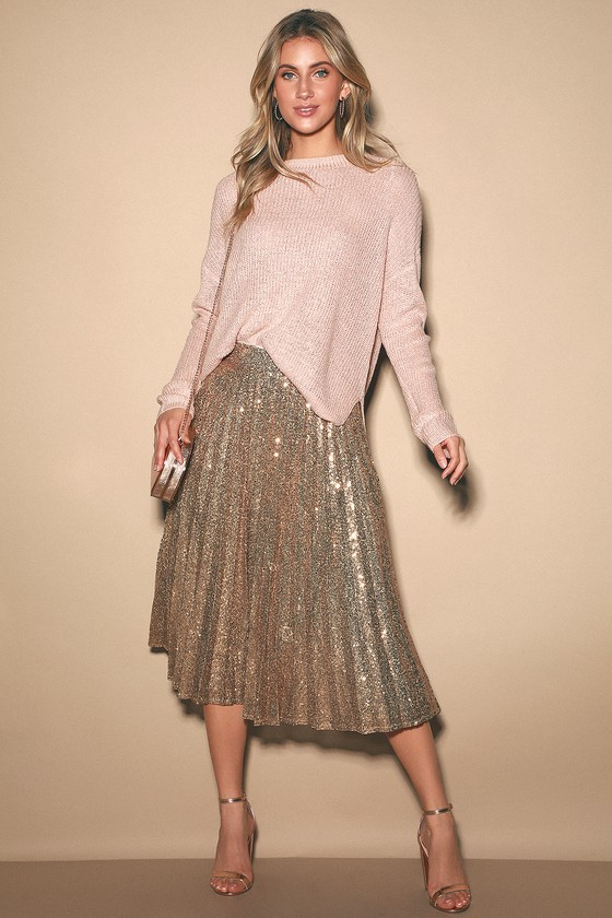 Glamorous Occasion Rose Gold Sequin Pleated Midi Skirt