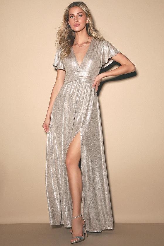 Midnight Moonlight Light Gold Flutter Sleeve Maxi Dress
