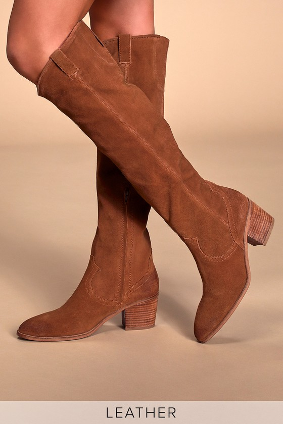 amazing price classic styles sneakers for cheap Izzy Tan Suede Leather Knee High Boots