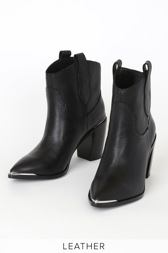 Zora Black Leather Pointed-Toe Ankle Booties