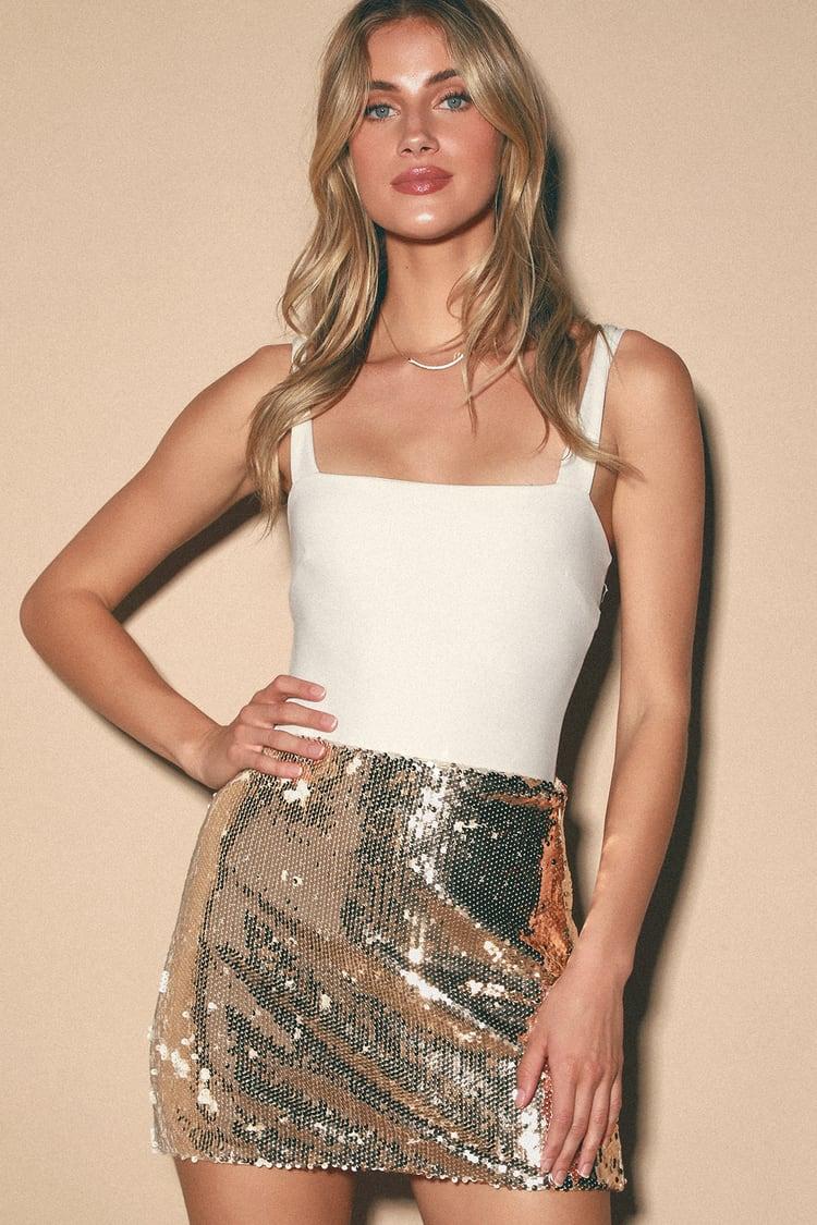Gold mini skirts size 25 Cute Gold Sequin Skirt Sequin Mini Skirt High Rise Skirt Lulus
