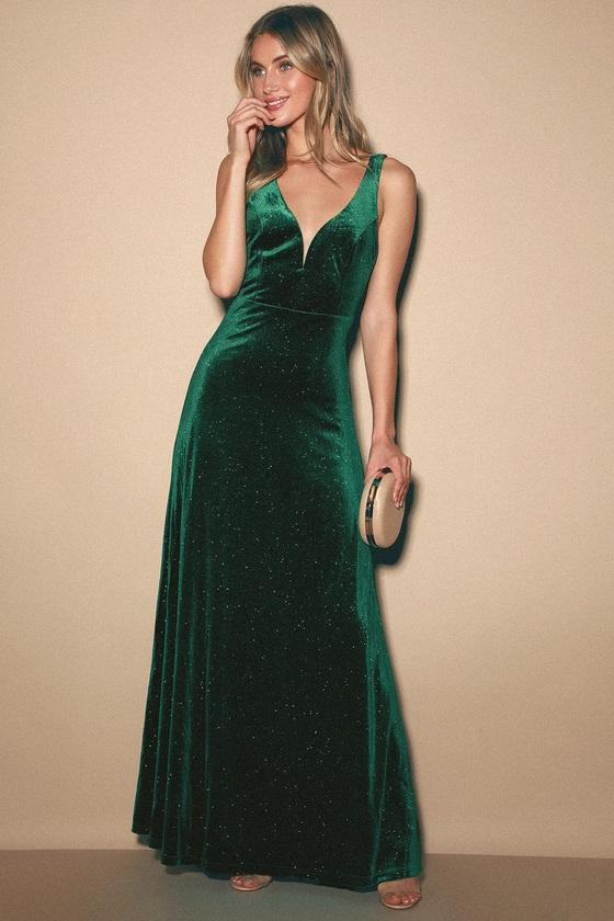 Star Gaze Emerald Green Velvet Mermaid Maxi Dress