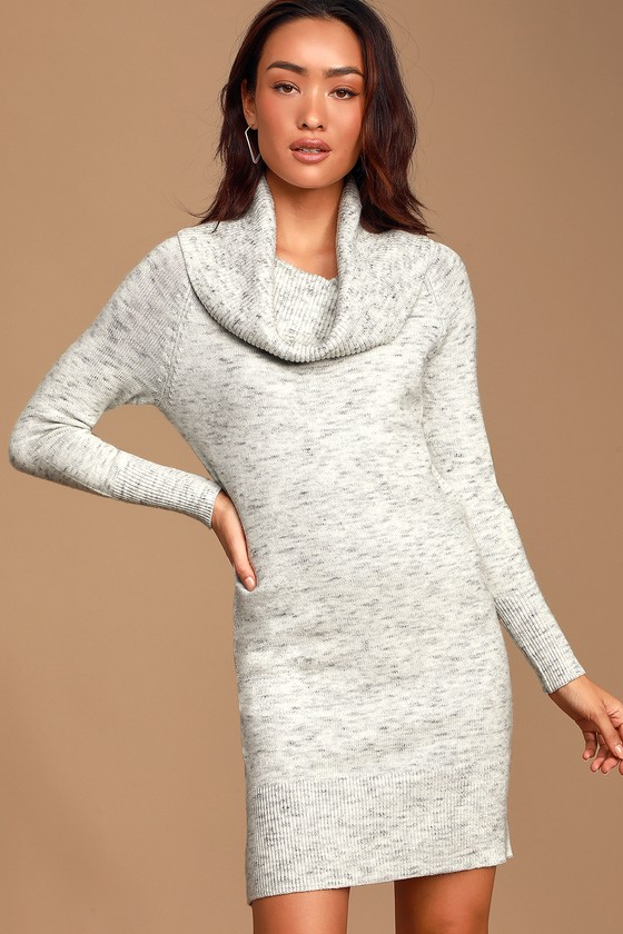 RD Style Good on You Heather Grey Off-the-Shoulder Sweater Dress