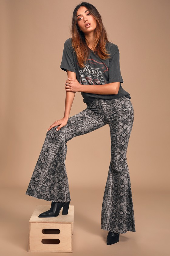 Free People Just Float On Taupe Snake Print High Rise Flare Jeans