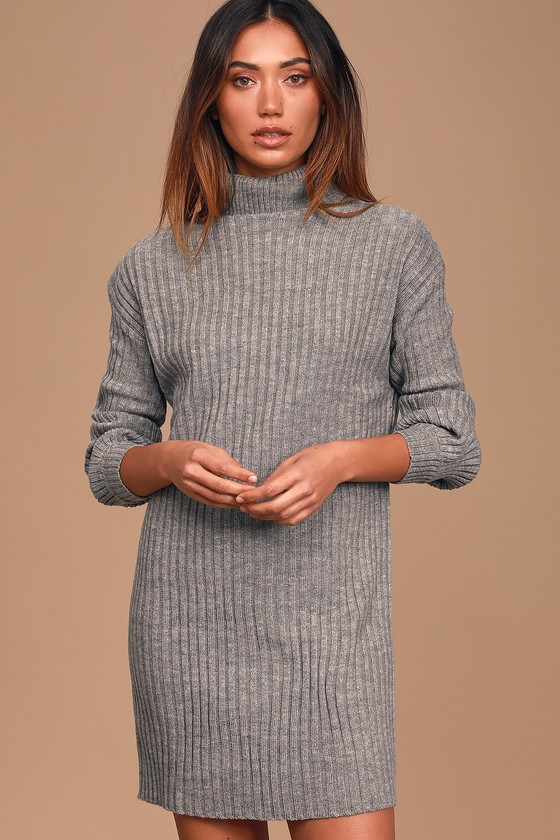 Lulus Exclusive! Do you love being cute and comfy? Well you\'re in luck because the Lulus Bundled Up Babe Heather Grey Ribbed Turtleneck Sweater Dress is the best of both worlds! Cozy rib knit, in a neutral heather grey hue, shapes this chilly-season ready dress with fitted long sleeves, a trendy turtleneck, and bodycon bodice ending at a modest, mid-thigh length. Fit: This garment fits true to size. Length: Mid-thigh. Size small measures 32\