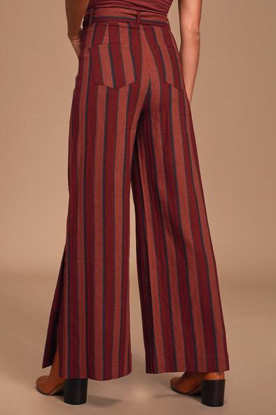 Sweet Gesture Burgundy Multi Striped Belted Wide-Leg Pants