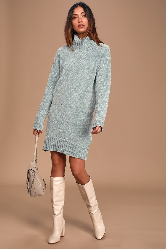 Café Queen Mint Blue Chenille Knit Sweater Dress