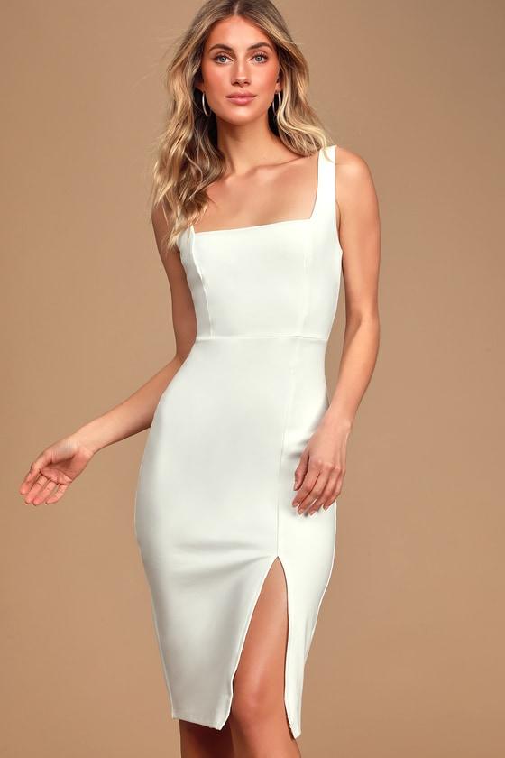 Baby, You're The One White Sleeveless Bodycon Midi Dress