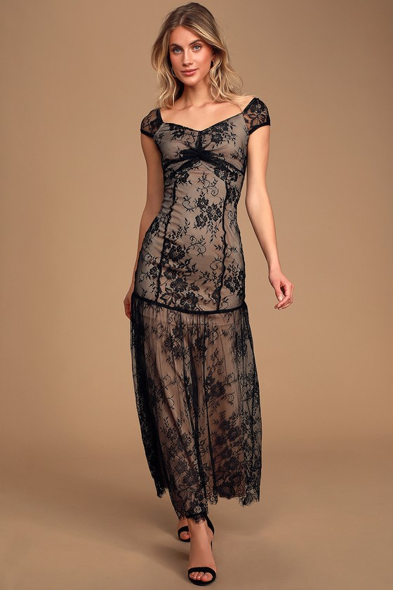 Flapper Outfit: How to Dress Like a 20s Flapper Girl Dream a Dream Black Lace Off-the-Shoulder Maxi Dress - Lulus $34.00 AT vintagedancer.com
