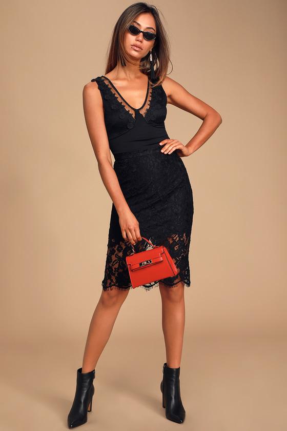 Cute Black Bodysuit - Embroidered Bodysuit - Plunging Bodysuit