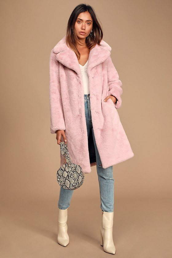 great fit super popular 100% top quality Avec Les Filles Coat - Light Pink Long Coat - Faux Fur Coat
