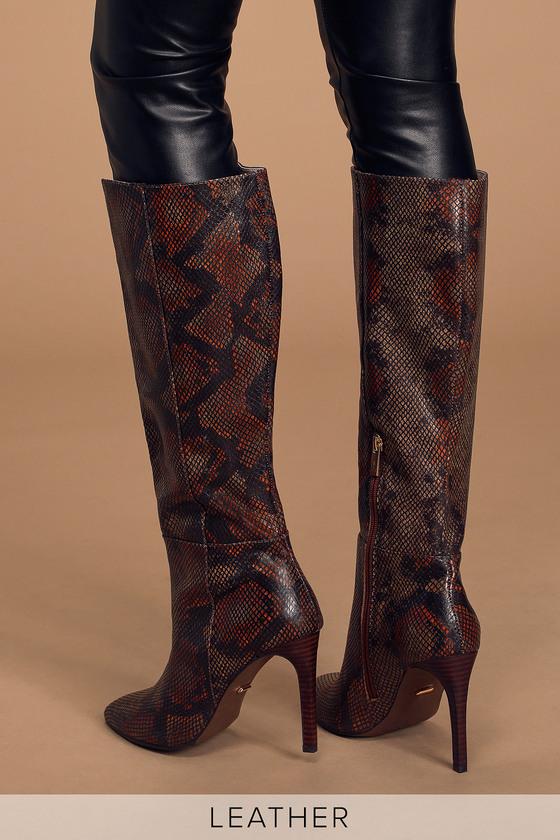 Kailynn Brown Snake Print Leather Knee-High High Heel Boots