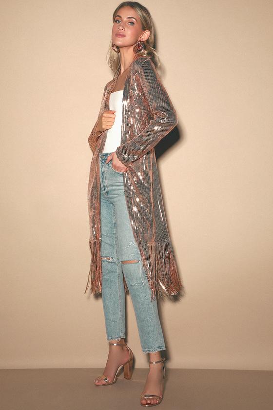 70s Prom, Formal, Evening, Party Dresses On the Horizon Black Sequin Fringe Duster - Lulus $79.00 AT vintagedancer.com