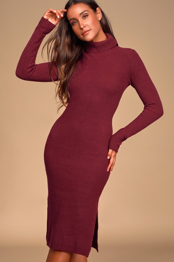 Lulus Exclusive! The Lulus Sheerah Burgundy Turtleneck Midi Sweater Dress is so cozy, you\'ll never want to take it off! Soft, medium-weight knit shapes a turtleneck and fitted long sleeves. Relaxed bodice leads into a figure-skimming midi skirt with twin side slits. Pair with a denim jacket for a chic layered look! Fit: This garment fits true to size. Length: Knee to mid-calf length. Size small measures 41\