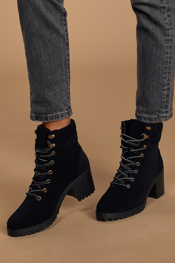 Cute Black Nubuck Boots - Lace-Up Boots