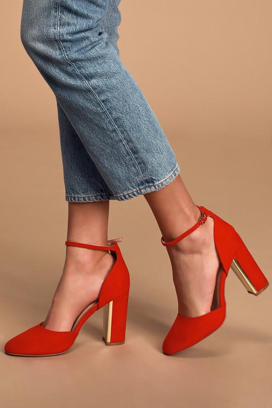 Red Suede Heels - Ankle Strap Heels