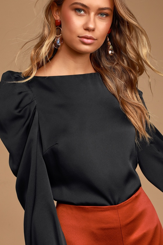 Victorian Blouses, Tops, Shirts, Sweaters Love You Dearly Black Satin Long Sleeve Top - Lulus $48.00 AT vintagedancer.com