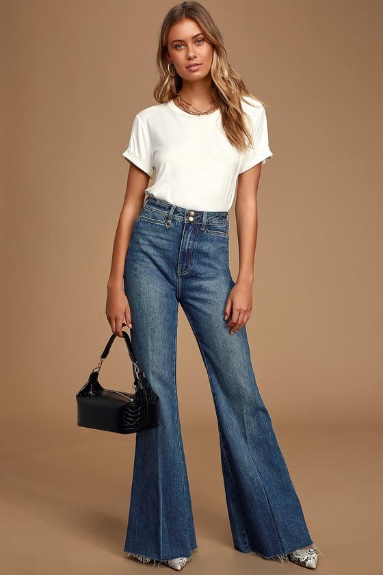 Vintage High Waisted Trousers, Sailor Pants, Jeans Bella Supa Sweeper Medium Wash High Rise Flare Jeans - Lulus $111.00 AT vintagedancer.com