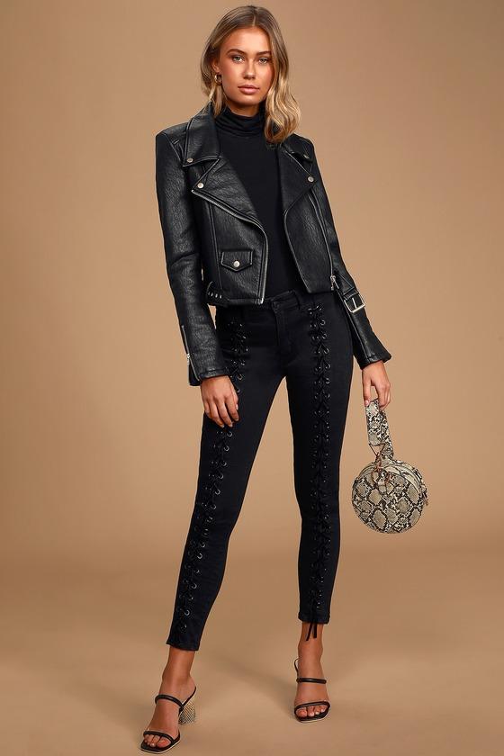 Vintage High Waisted Trousers, Sailor Pants, Jeans Blondie Tie Up Black Lace-Up Skinny Jeans - Lulus $170.00 AT vintagedancer.com