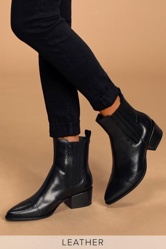 Vagabond Marja Black Leather Pointed-Toe Ankle Boots