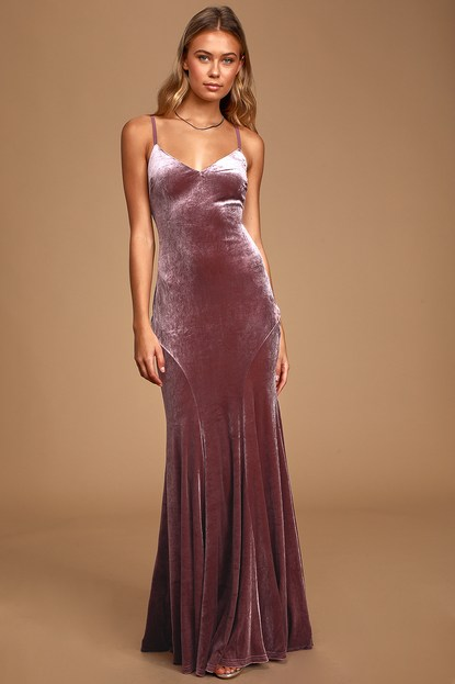 Timeless Love Dusty Purple Velvet Mermaid Maxi Dress - Lulus