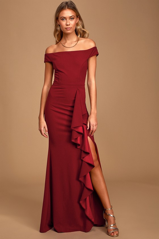 Mila Burgundy Ruffled Off-the-Shoulder Maxi Dress