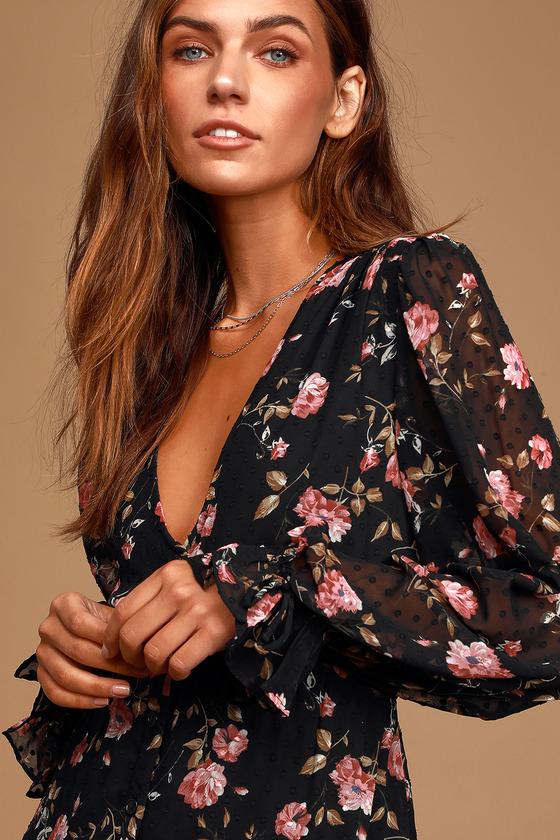 Fleur-ty Girl Black Floral Print Long Sleeve Babydoll Dress - Lulus