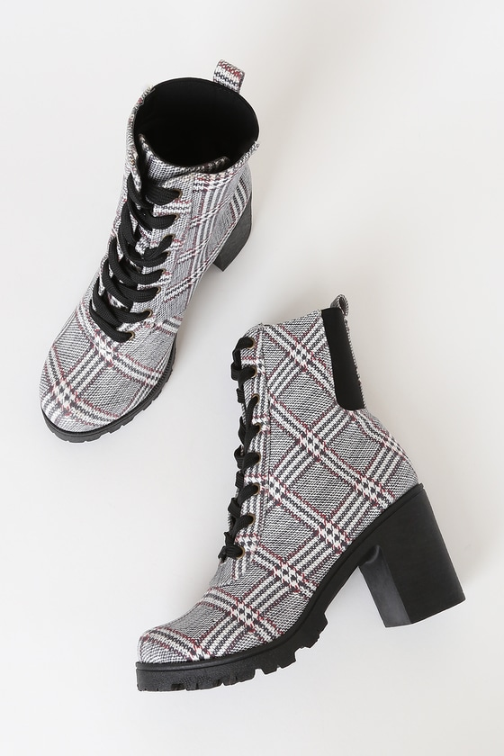 Briene Black and White Plaid Lace-Up Platform High Heel Boots