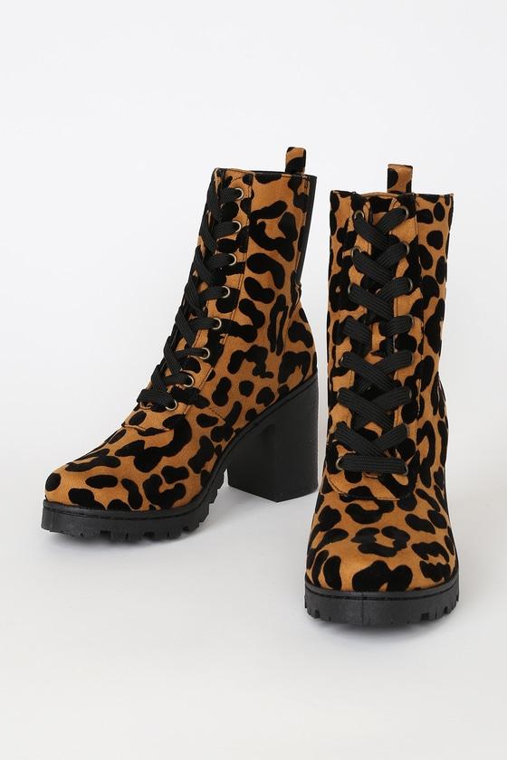 Briene Camel Leopard Suede Lace-Up Platform High Heel Boots