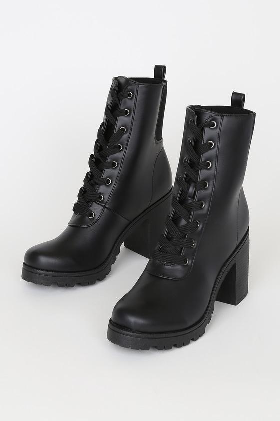 Briene Black Lace-Up Platform High Heel Boots