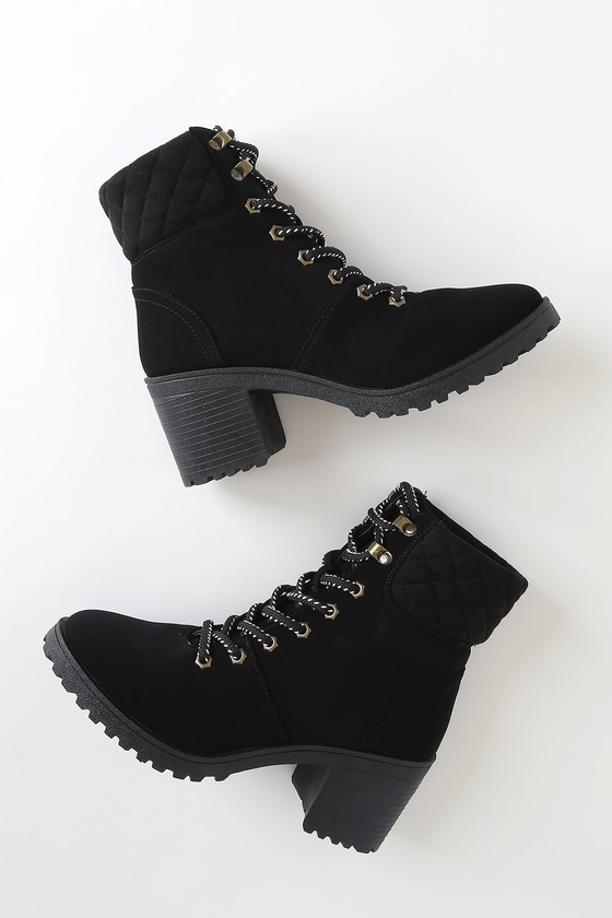 Annella Black Nubuck Lace-Up Ankle High Heel Boots