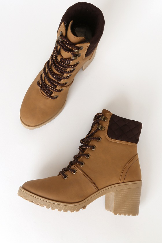 Annella Tan Nubuck Lace-Up Ankle High Heel Boots