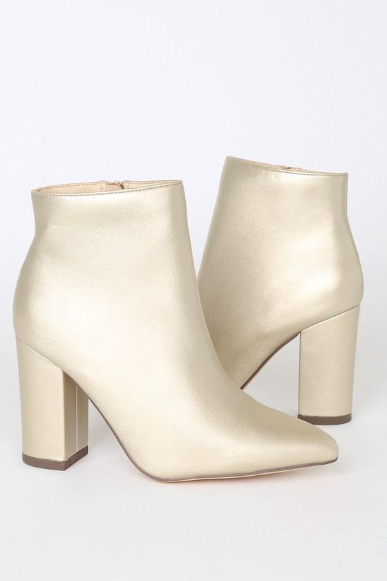 Ottava Light Gold High Heel Booties