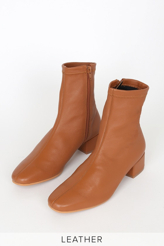 Celine Cognac Leather Mid-Calf Sock High Heel Boots