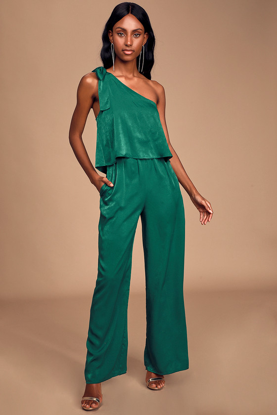 Bold Behavior Emerald Green Satin One Shoulder Jumpsuit