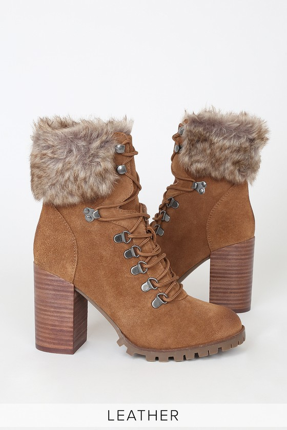 Alesha Tan Leather Lace-Up High Heel Boots