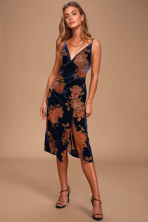 Cute Navy Blue Floral Print Dress Burnout Velvet Slip Dress Lulus