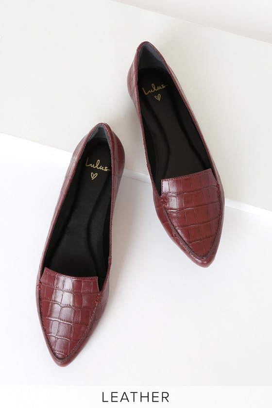 Cute Leather Loafers - Wine Loafers