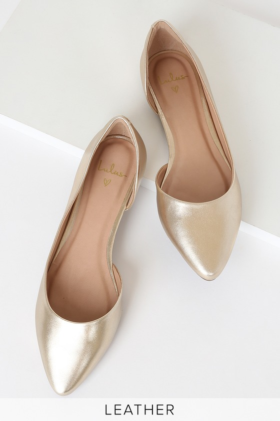 It\'s easy to see why you\'ll love the Lulus Audri Leather Gold D\'Orsay Flats! These comfy, go-to flats have a classic pointed toe upper, flirty d\'Orsay silhouette, and a genuine metallic gold leather construction that adds a luxe touch! Guaranteed to be an instant fave you\'ll want to wear day and night! 0. 25\