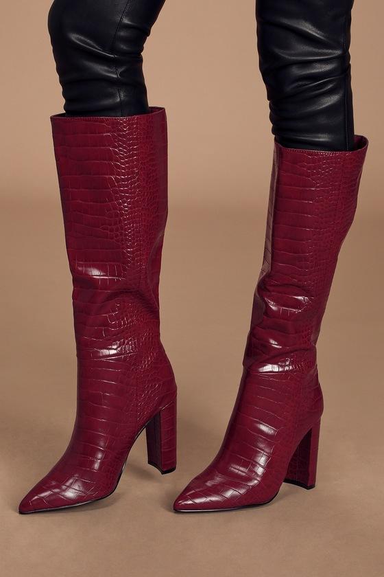 Triumph Burgundy Crocodile Pointed-Toe Knee-High High Heel Boots