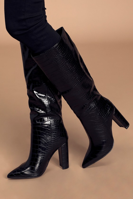Triumph Black Crocodile Pointed-Toe Knee-High High Heel Boots