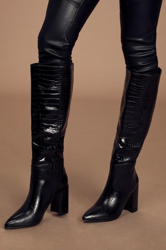 Katari Black Croc Pointed-Toe Knee High High Heel Boots