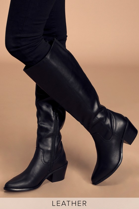 Orphie Black Leather Pointed-Toe Knee-High High Heel Boots