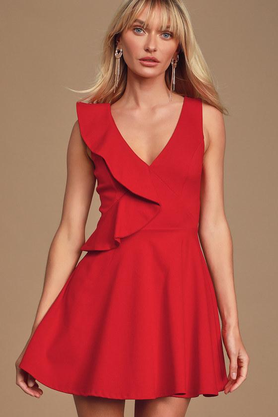Secret Admirer Red Sleeveless Ruffled Skater Dress