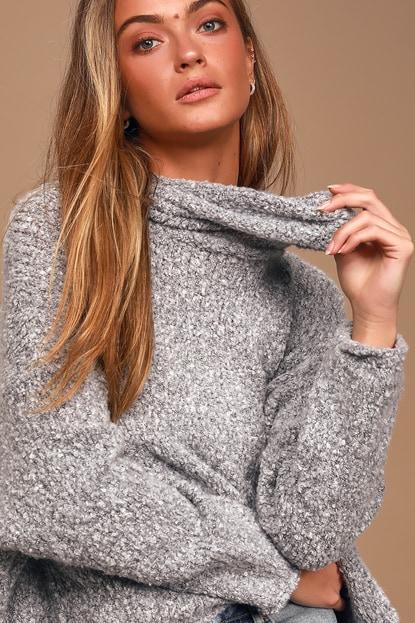 Free People BFF Heather Grey Knit Turtleneck Sweater
