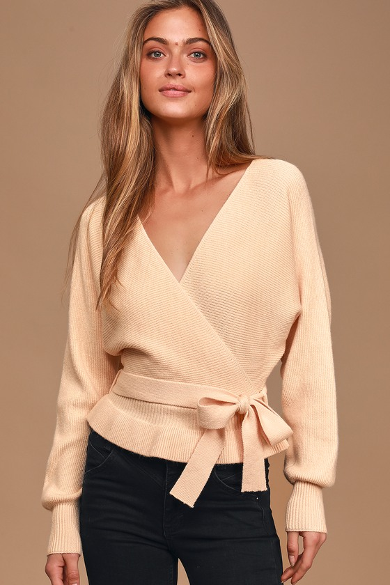 1930s Style Blouses, Shirts, Tops | Vintage Blouses Sweet and Sophisticated Beige Knit Faux-Wrap Sweater - Lulus $62.00 AT vintagedancer.com